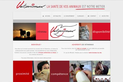 Site internet et intranet de Vetanimax